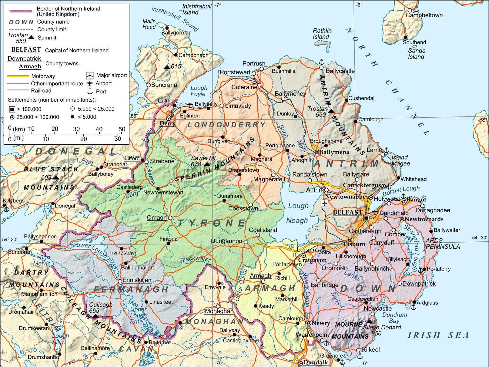 Mapa Irlanda Del Norte.Aeropuertos En Irlanda Del Norte Mapa Mapa De Los